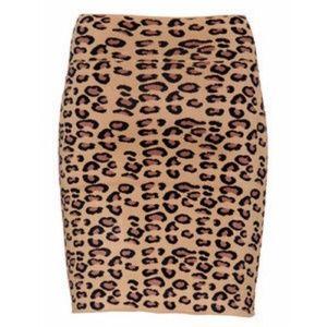 BCBG Max Azria Leopard Print Bodycon Skirt Cheetah